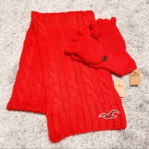 Hollister Red Knit Scarf and Mitten Glove Set